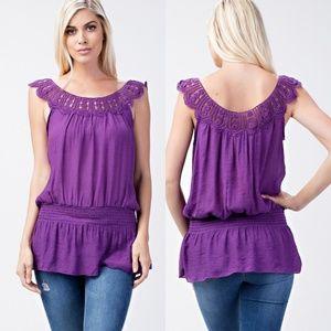 💜Regal Purple Crochet Tunic Top
